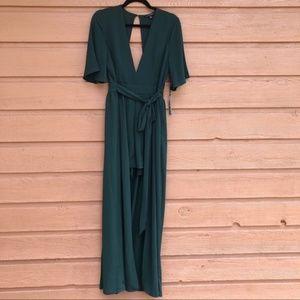 NWT Haute Monde Short Sleeve Romper Green Maxi - L
